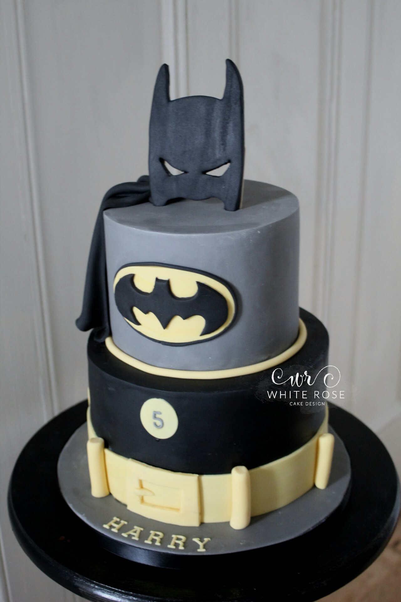 Batman Themed Birthday Cake by White Rose Cake Design in West Yorkshire Cake Maker 5th Birthday