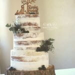 Semi-Naked Wedding Cake with Sea Holly at Gibson Mill, Hardcastle Crags by White Rose Cake Design