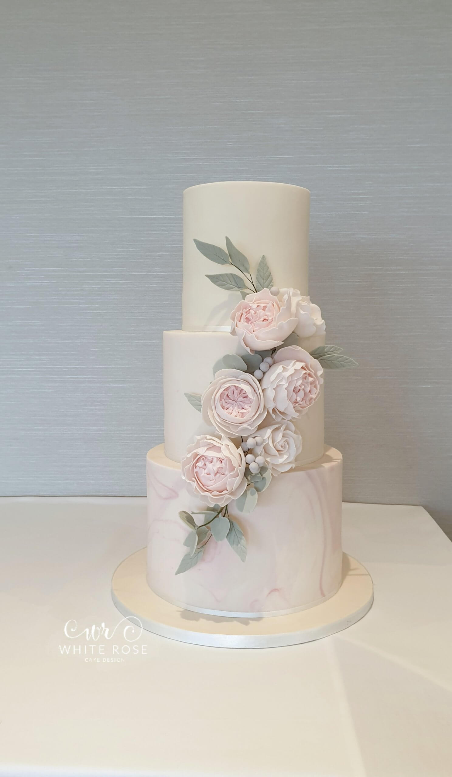 Blush Pink Marble Wedding Cake with Sugar Flowers by White Rose Cake Design Luxury Wedding Cakes in Holmfirth West Yorkshire (3)