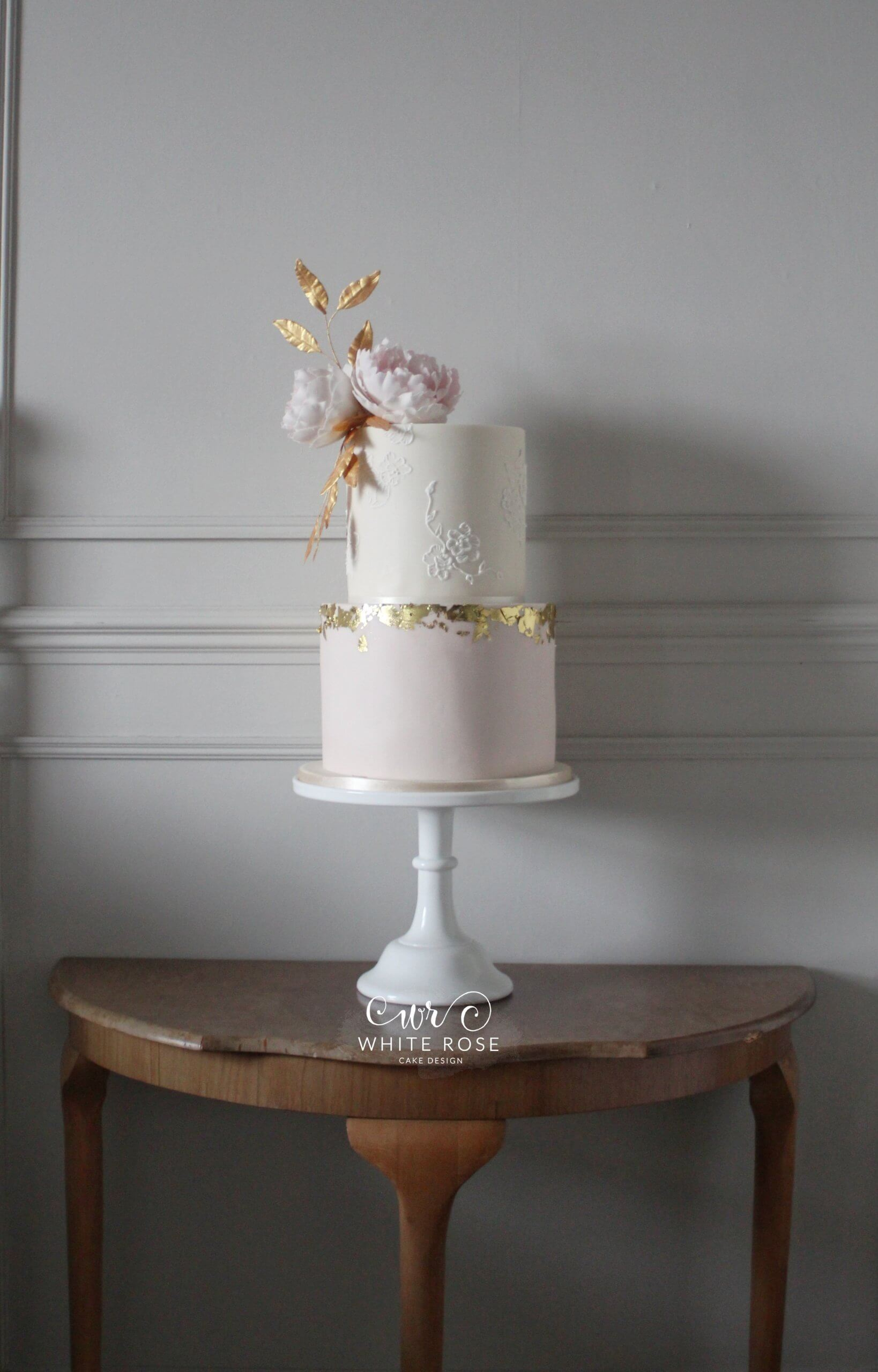 Two Tier Blush and Gold Wedding Cake by White Rose Cake Design in West Yorkshire