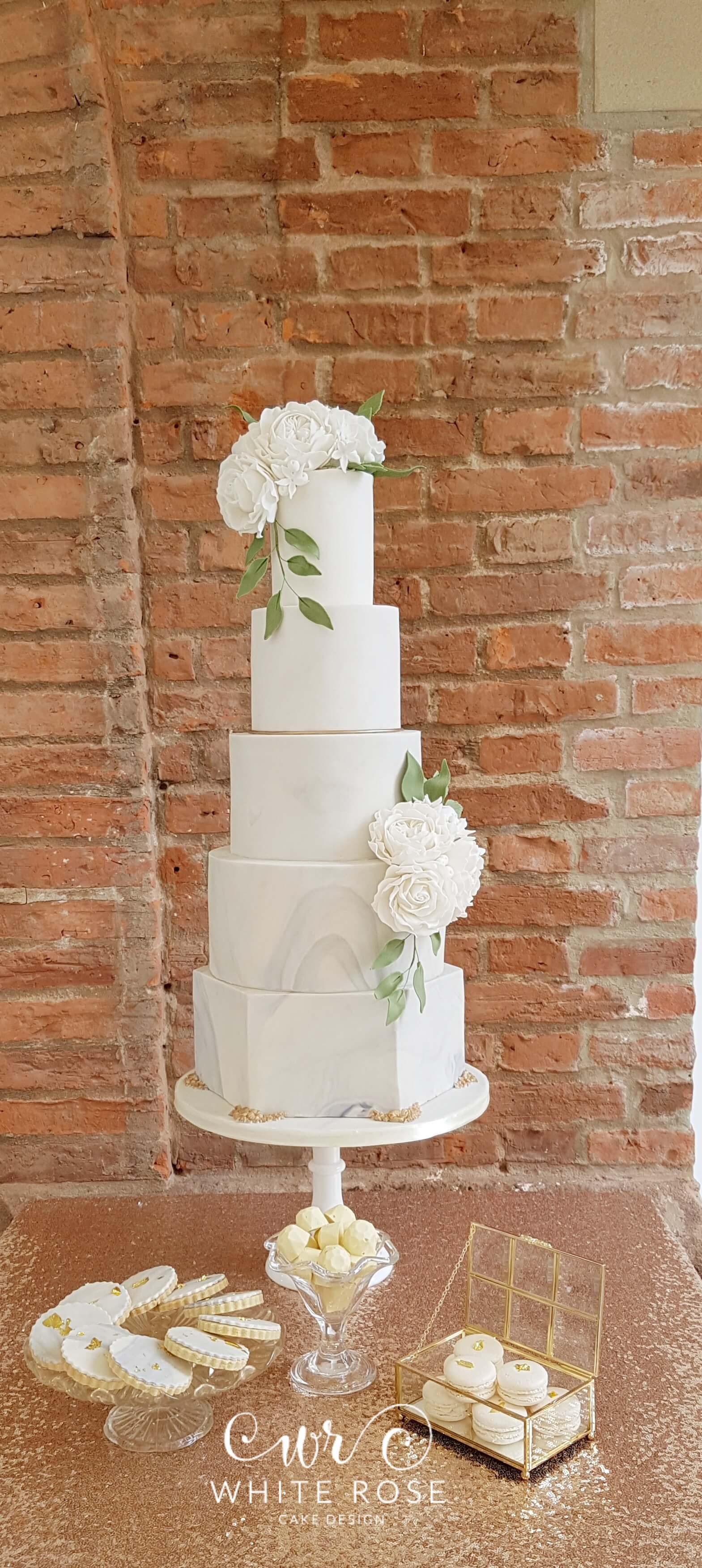 Elegant 5 Tier Marble Wedding Cake with White Roses at Goldsborough Hall by White Rose Cake Design Bespoke Cake Makers in West Yorkshire (1)