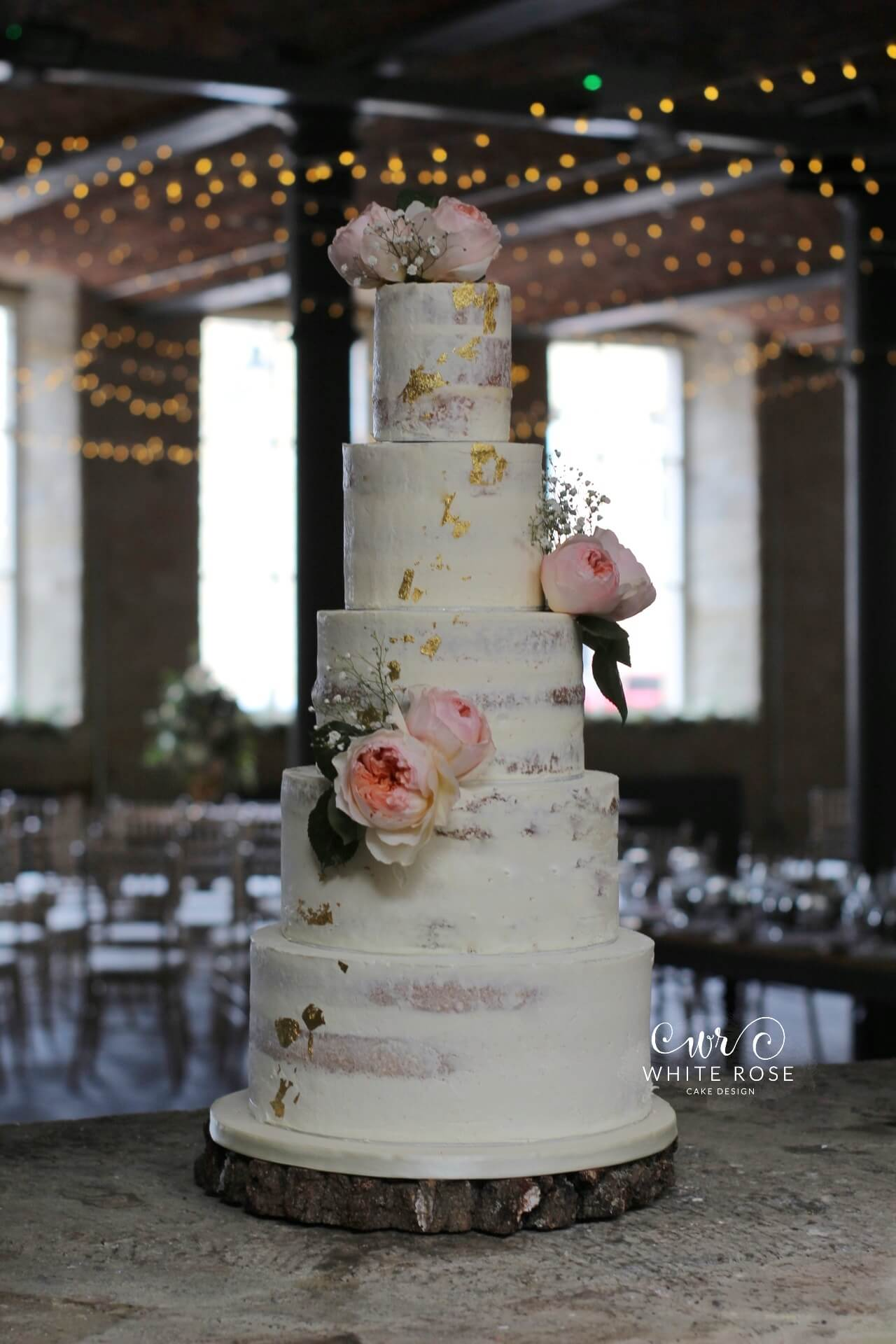Five Tier Semi-Naked Wedding Cake with Juliet Roses and Gold at The Arches by White Rose Cake Design Bespoke Cake Makers in West Yorkshire