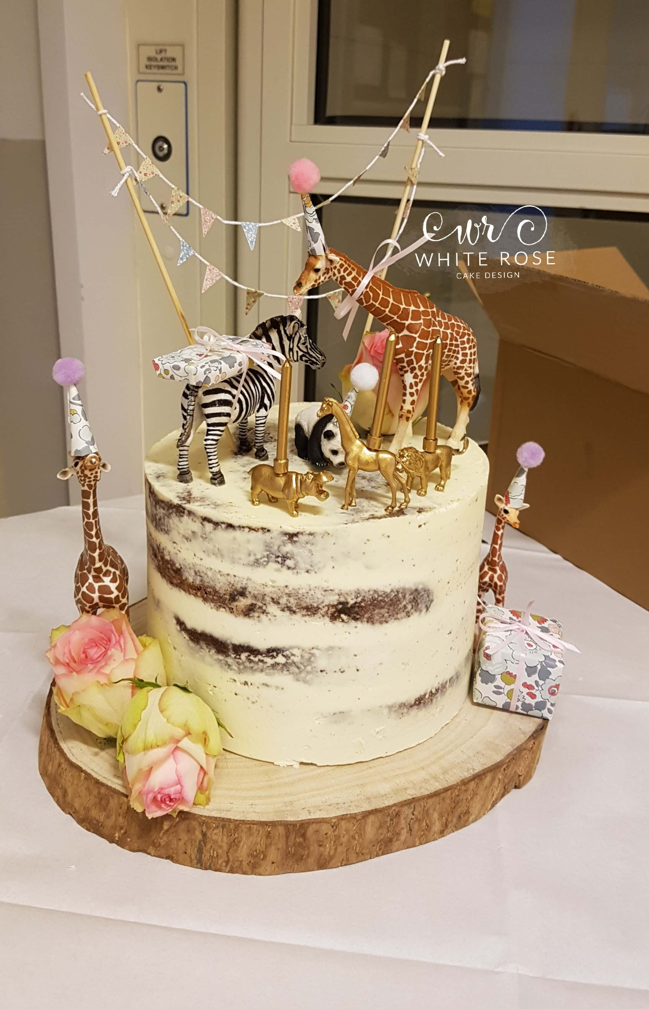Girly Safari Jungle Themed 3rd Birthday Cake by White Rose Cake Design
