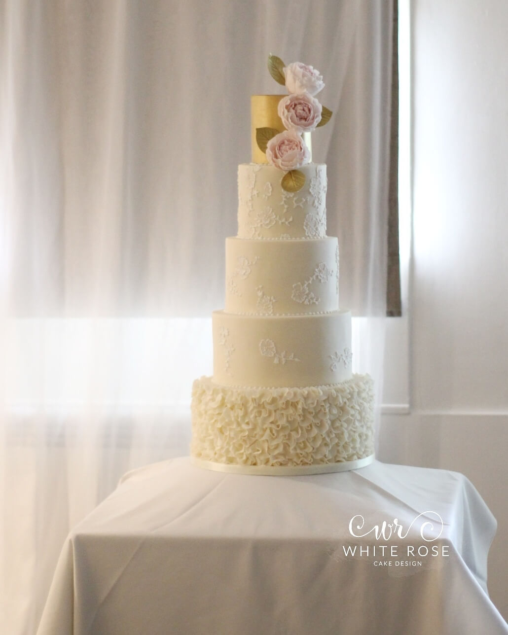 Five Tier Gold and Lace Wedding Cake with Ruffles and Peonies by White Rose Cake Design Luxury Wedding Cakes West Yorkshire