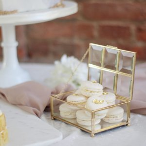 Luxury Macaron Wedding Favours or Dessert Table with Edible Gold Leaf by White Rose Cake Design Bespoke Cake Makers in West Yorkshire