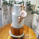 Modern Copper Wedding Cake with Statement Rose by White Rose Cake Design Bespoke Cake Maker in West Yorkshire