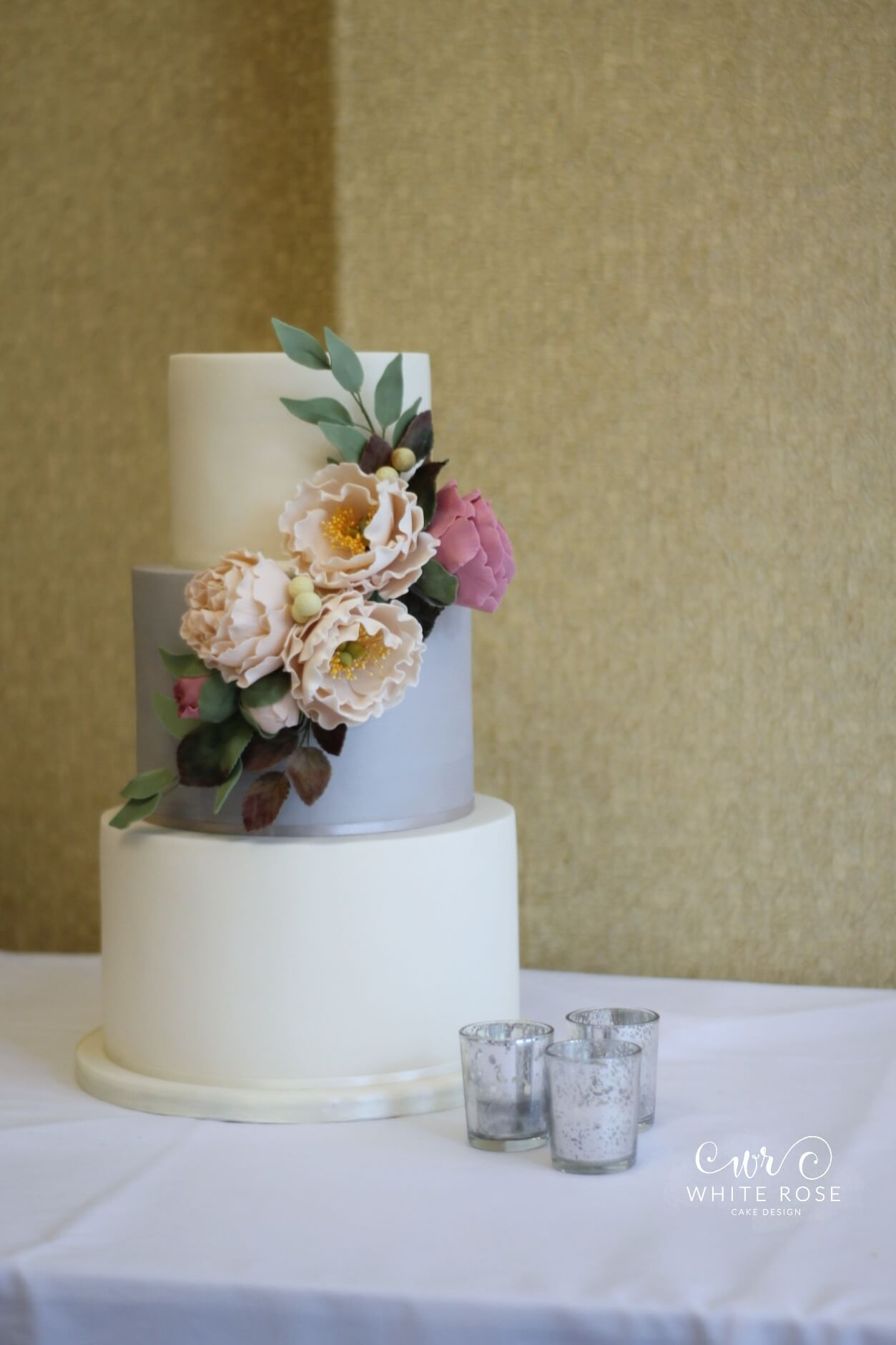 Peach Peonies Wedding Cake at Aldwark Manor by White Rose Cake Design Bespoke Cake Makers in West Yorkshire