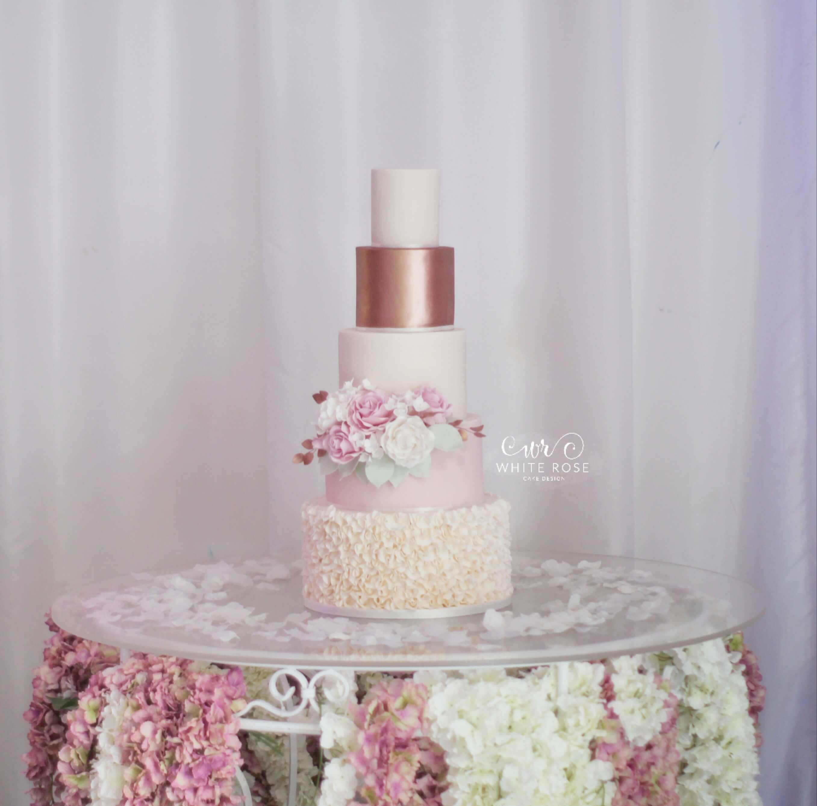 Pink and Copper Rose Gold 5 tier wedding cake by White Rose Cake Design Luxury Wedding Cakes in West Yorkshire