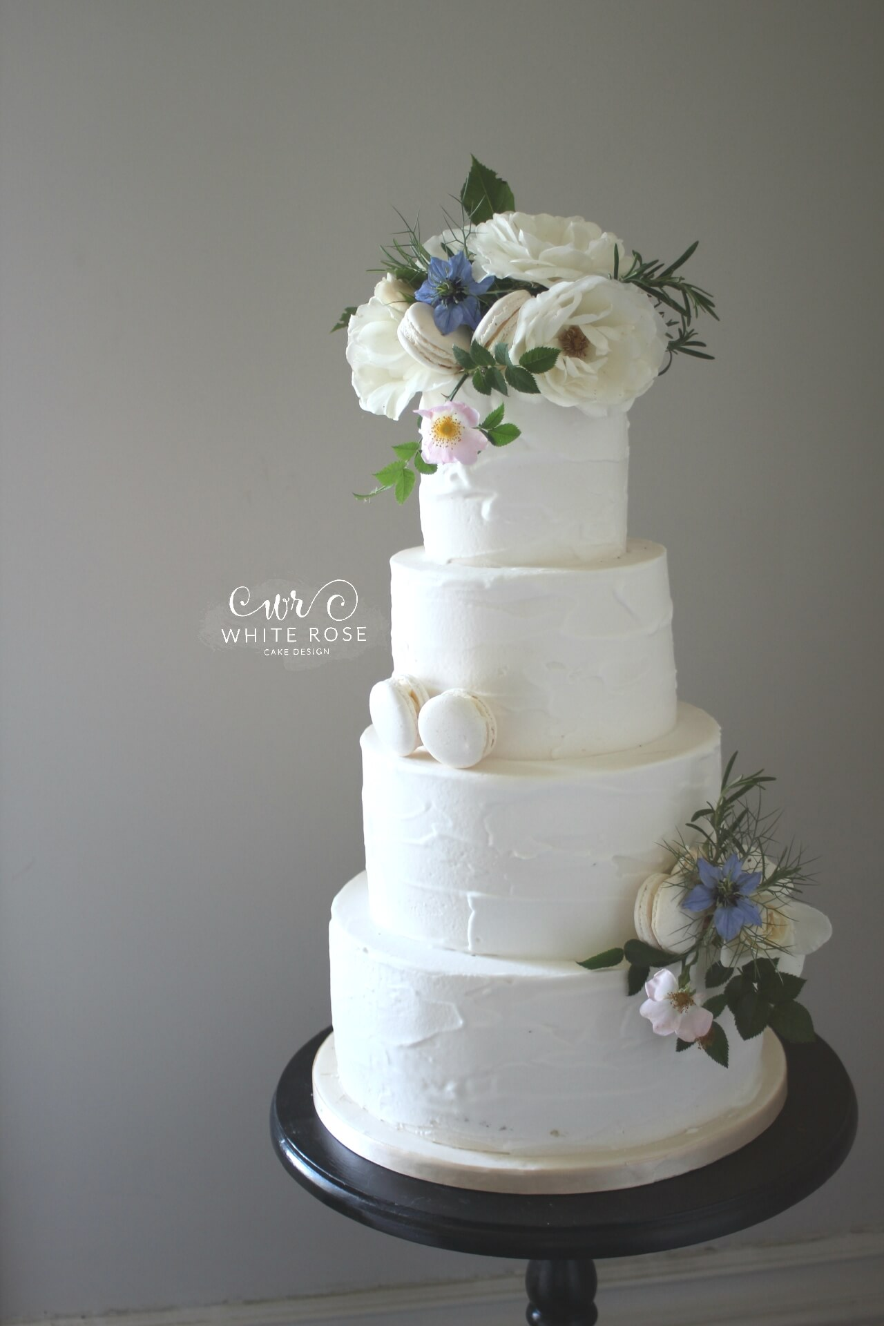 Textured Buttercream Four Tier Wedding Cake with Fresh Flowers and Macarons by White Rose Cake Design West Yorkshire (2)