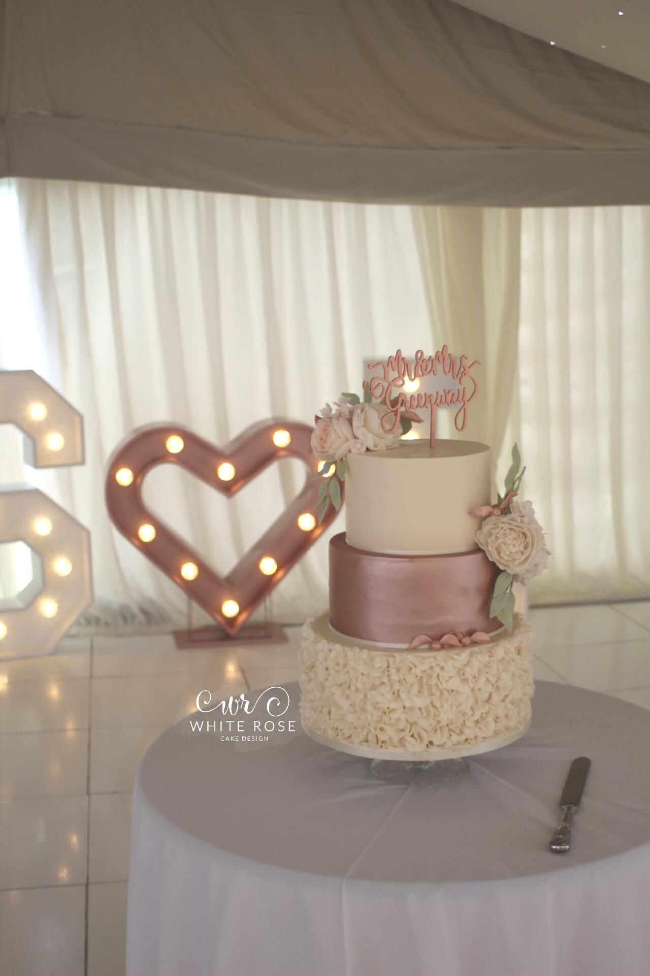 rose gold wedding cake modern luxurious wedding cakes in holmfirth west 7119