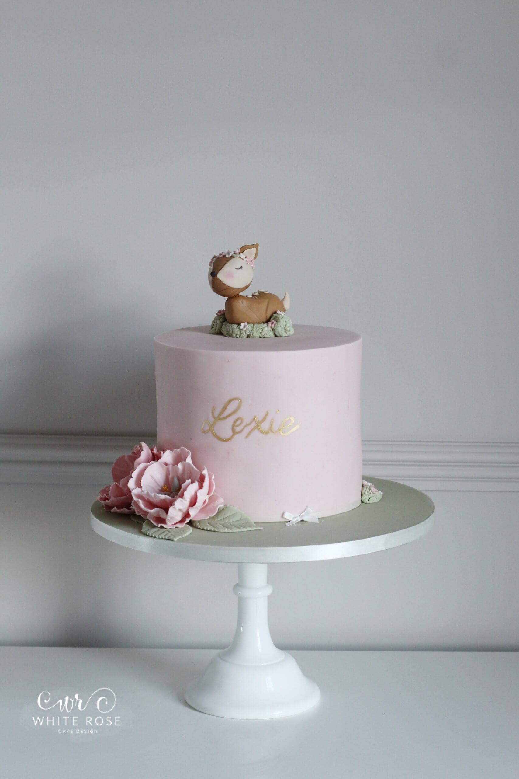 Woodland Deer First 1st Birthday Cake by White Rose Cake Design Bespoke Birthday Cakes in Huddersfield Holmfirth (1)