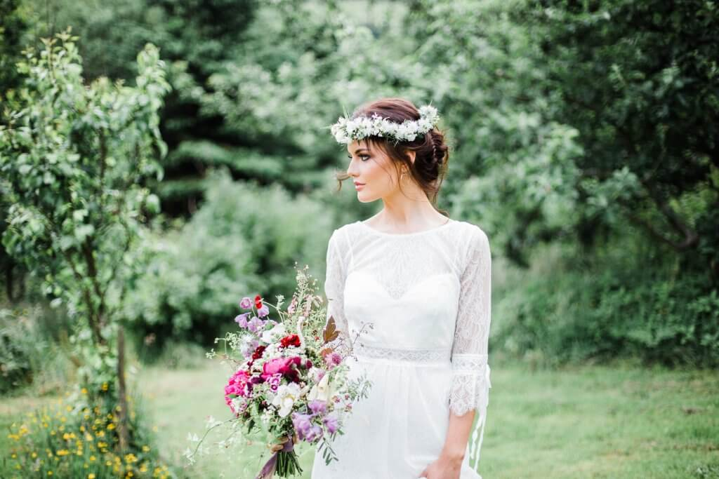 Boho Bride and Floral Crown - Colourful Rustic DIY Wedding in Huddersfield - White Rose Cake Design Luxury Wedding Cakes