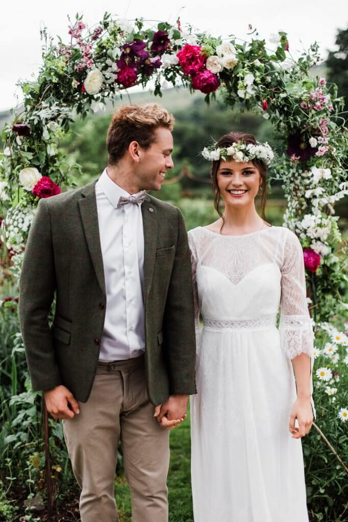 Bride and Groom Outfits - Colourful Rustic DIY Wedding in Huddersfield - White Rose Cake Design Luxury Wedding Cakes
