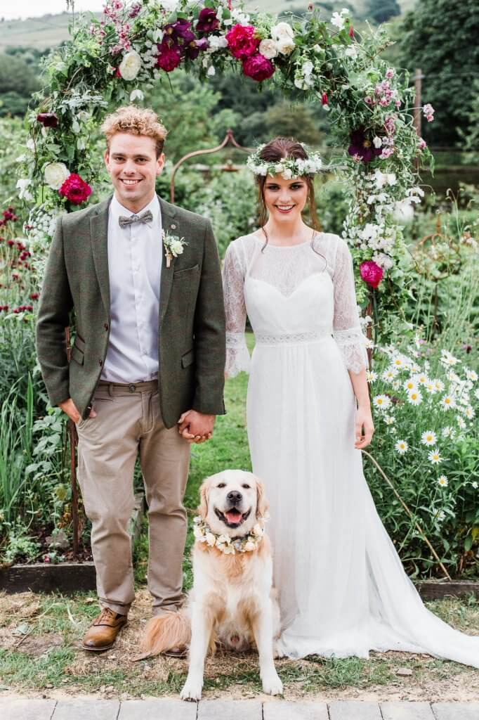 Dogs at Weddings - Colourful Rustic DIY Wedding in Huddersfield - White Rose Cake Design Luxury Wedding Cakes