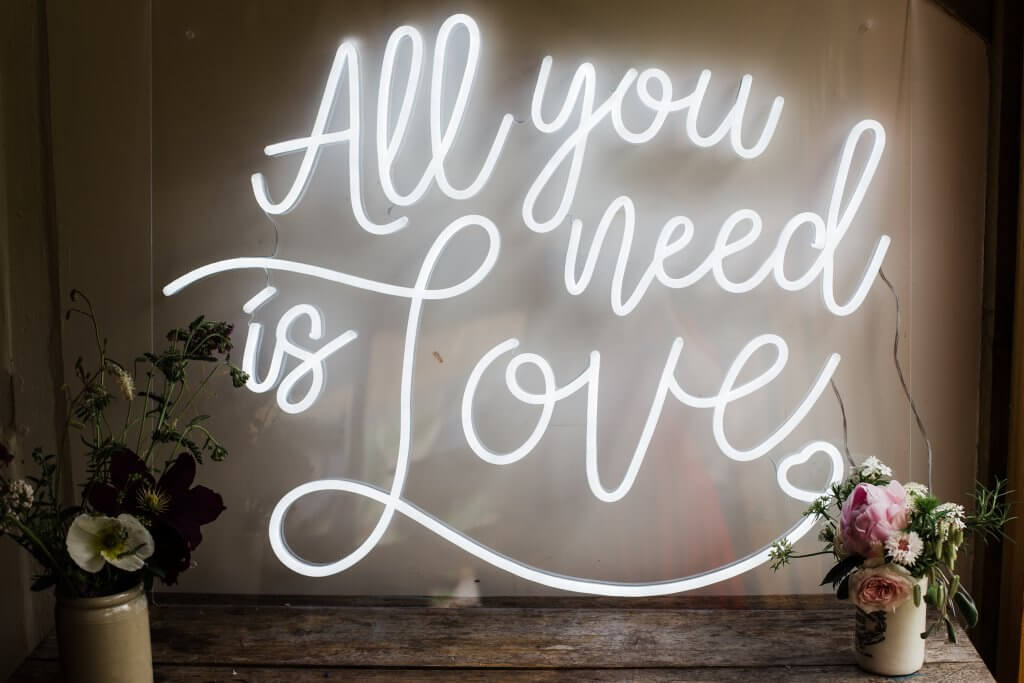 Neon Sign Colourful Rustic DIY Wedding in Huddersfield - White Rose Cake Design Luxury Wedding Cakes