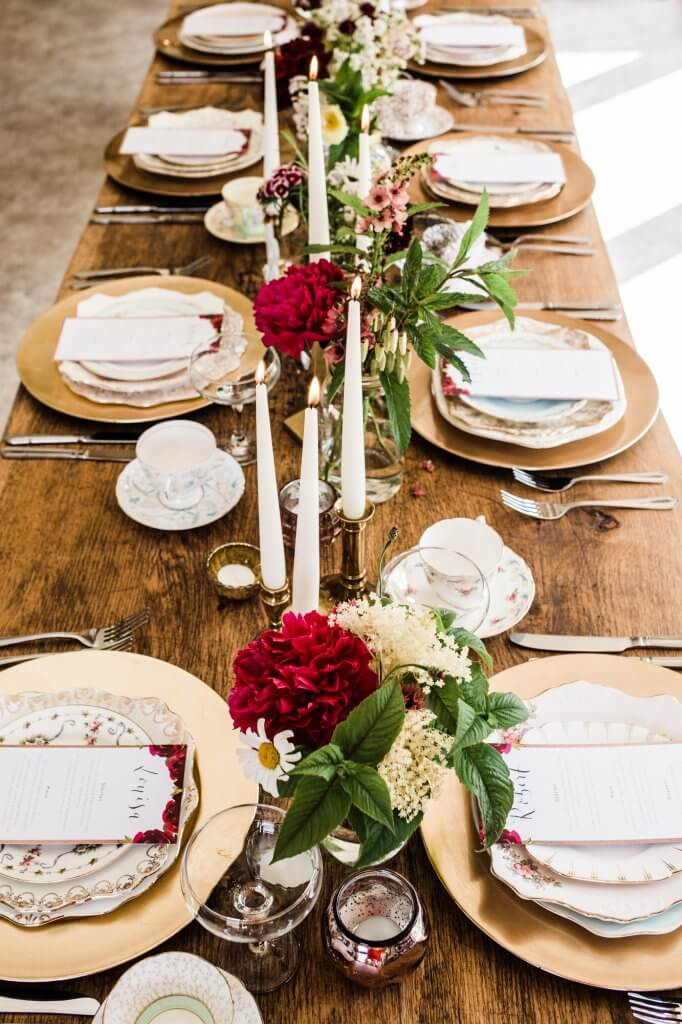 Table Setting - Colourful Rustic DIY Wedding in Huddersfield - White Rose Cake Design Luxury Wedding Cakes