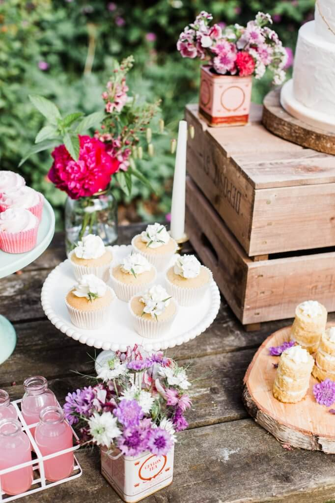 Dessert Table - Cupcakes - Colourful Rustic DIY Wedding in Huddersfield - White Rose Cake Design Luxury Wedding Cakes