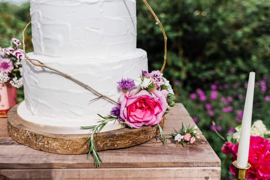 Colourful Rustic DIY Wedding in Huddersfield - White Rose Cake Design Luxury Wedding Cakes