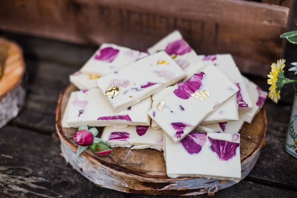 Floral Chocolate Tile - Colourful Rustic DIY Wedding in Huddersfield - White Rose Cake Design Luxury Wedding Cakes