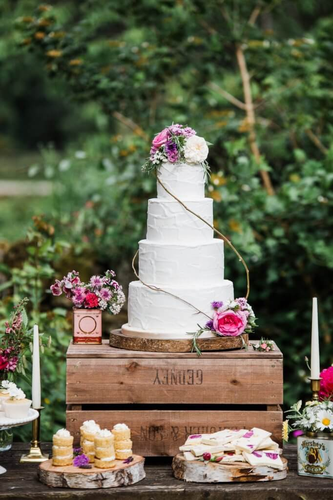 Dessert Table - Colourful Rustic DIY Wedding in Huddersfield - White Rose Cake Design Luxury Wedding Cakes