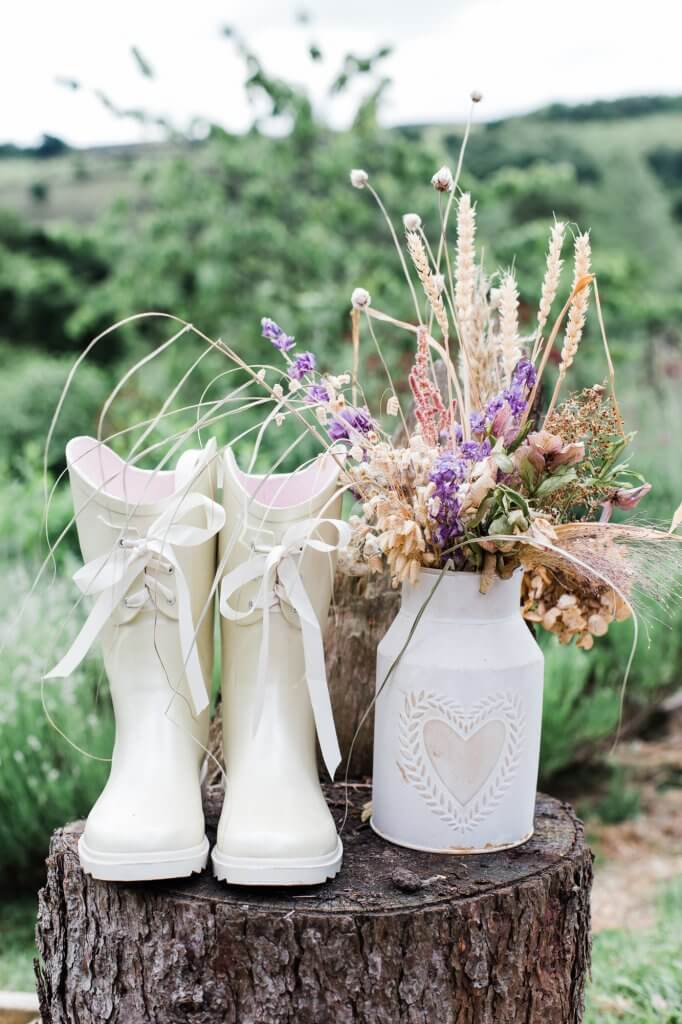 Wedding Wellies - Colourful Rustic DIY Wedding in Huddersfield - White Rose Cake Design Luxury Wedding Cakes