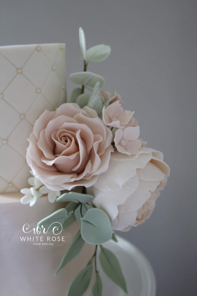 Quilted Cake with Sugar Flowers - Elegant Five Tier Wedding Cake with Peach & Nude Flowers by White Rose Cake Design Luxury Cakes West Yorkshire