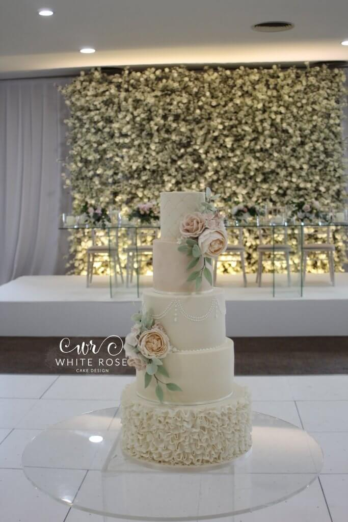 Elegant Five Tier Wedding Cake with Peach & Nude Flowers by White Rose Cake Design Luxury Cakes West Yorkshire