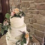 Rustic Buttercream Wedding Cake in Barn Wedding Cubley Hall, South Yorkshire by White Rose Cake Design