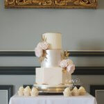 3 Tier Blush and Ivory Hexagon Wedding Cake with Cupcakes at Oulton Hall by White Rose Cake Design Luxury Cake Maker