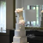 Five Tier Ombre Marble Wedding Cake with Pink Peonies by White Rose Cake Design in West Yorkshire