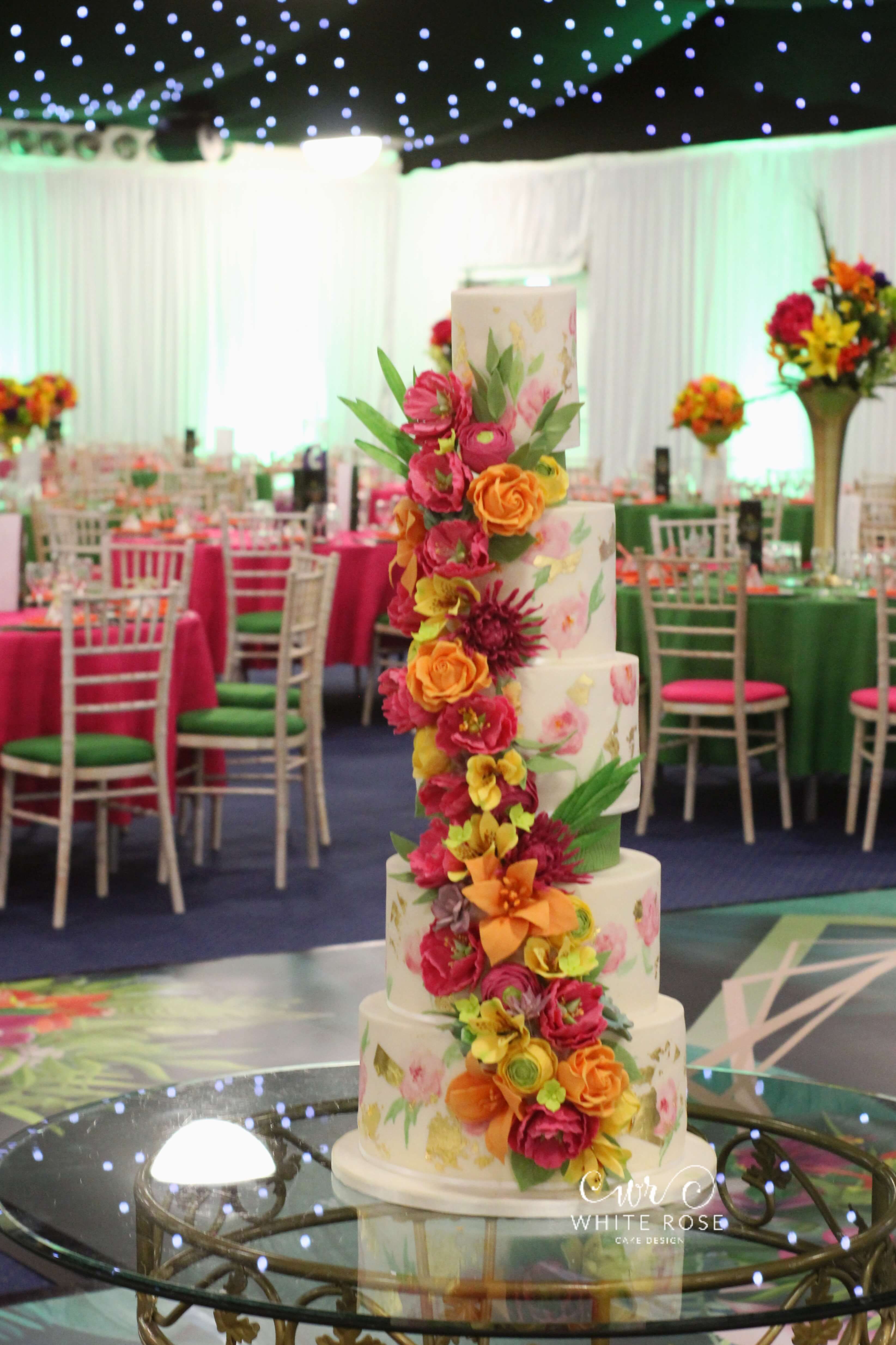 Tropical Floral Cascade Wedding Cake by White Rose Cake Design in Leeds