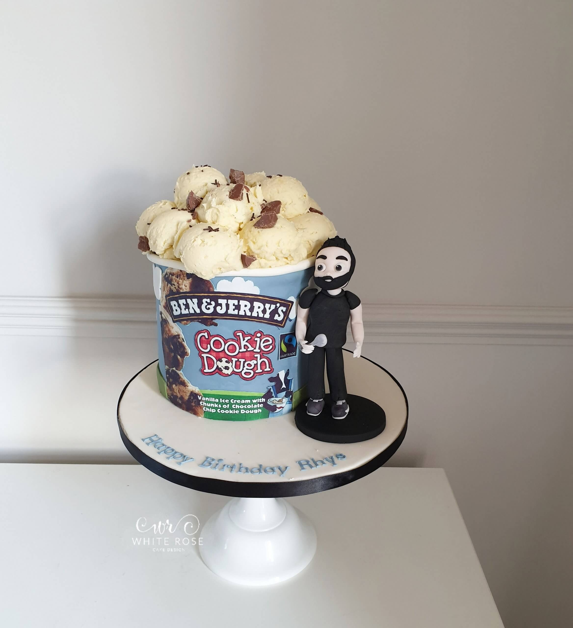 Ben & Jerry's Cookie Dough Ice Cream Tub BIrthday Cake with Figure by White Rose Cake Design - Birthday Cakes in Holmfirth and Huddersfield