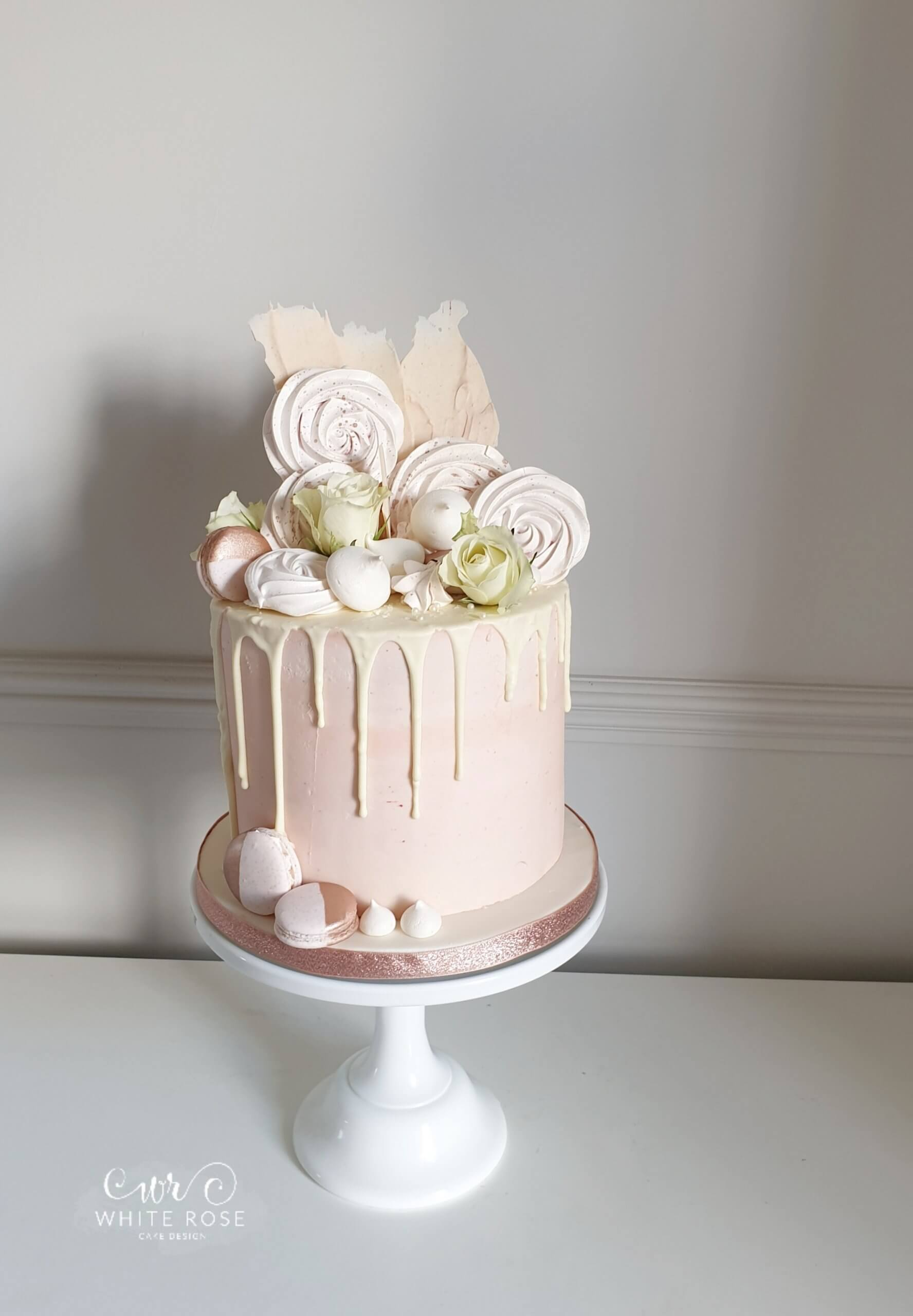 Blush-Pink-Drippy-Birthday-Cake-by-White-Rose-Cake-Design-Luxury-Birthday-Cakes-in-West-Yorkshire - macaron on cake - blush pink - drippy birthday cake - 40th birthday cake ideas
