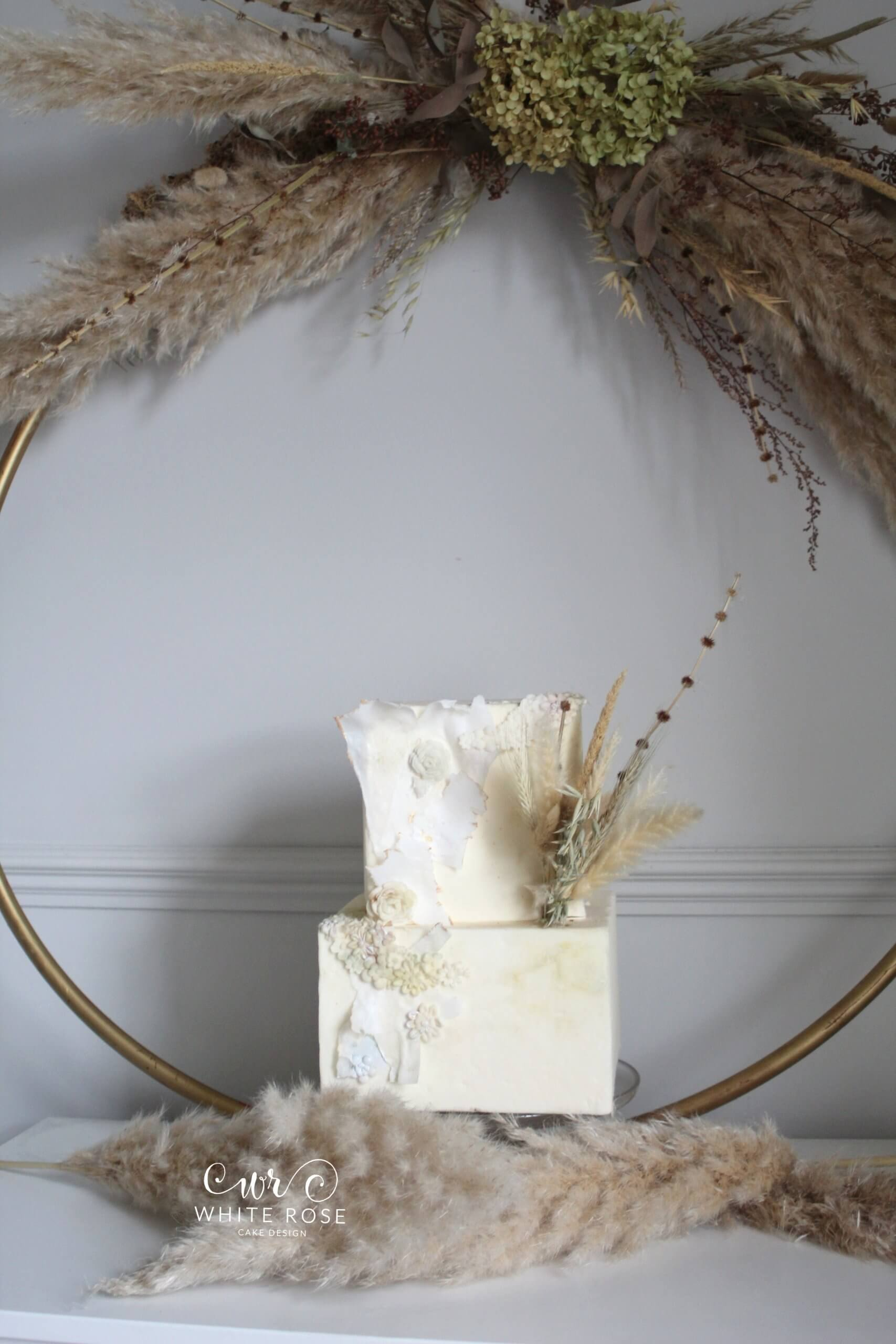 Two Tier Dried Flower Wedding Cake by White Rose Cake Design in West Yorkshire