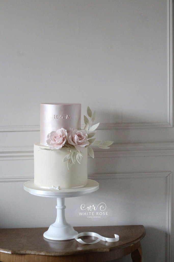 Pink and White Two Tier Small Wedding Cake with Roses by White Rose Cake Design in West Yorkshire